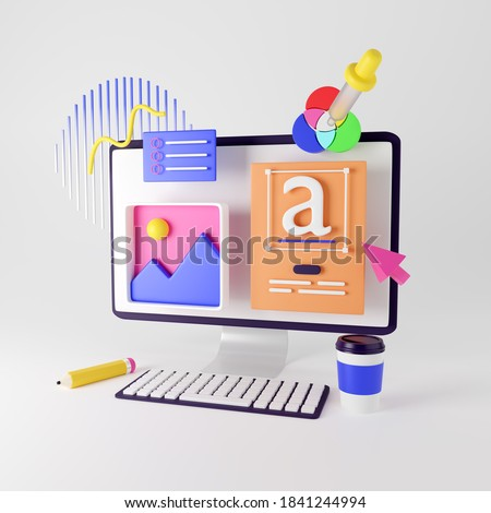Web design development, design studio, creative process. 3d render