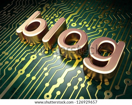 Web design SEO concept: circuit board with word Blog, 3d render