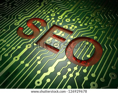 Web design SEO concept: circuit board with word SEO, 3d render