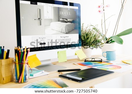 Web design studio hotel website design - Shutterstock ID 727505740