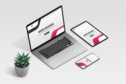Web design studio promo page on laptop, tablet and phone display concept. Isometric view of desk with plant decoration
