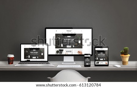 Web design studio with responsive web site promotion. Computer display, laptop, tablet and smart phone mockup on office desk. Plant and coffee beside. - Shutterstock ID 613120784