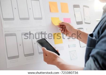 Web designer, UX UI designer planning application for mobile phone. #721080736