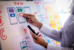Web designer woman doing test sketch drawing application for mobile phone in office. User experience Design concept.