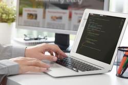 Web developer is working on new website. web developer designer web code programmer computer application programming concept