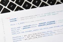 Web developer programming code. Programming, PHP printed code. Computer www script.
