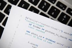 Web developer programming code. Programming, webdesign HTML printed code. Computer www script.