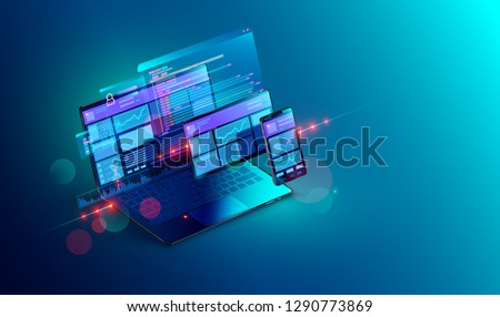 Web development and coding. Cross platform development website. Adaptive layout internet page or web interface on screen laptop, tablet and phone. Isometric concept illustration.