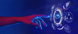 web development and web design concept in neon light, building a business website, programming for internet