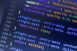 Web development code: CSS/LESS styles preprocessor script lines. Abstract screen of web developer.