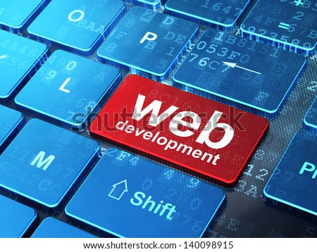 Web development concept: computer keyboard with word Web Development on enter button background, 3d render