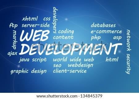 Web Development concept Illustration on blue background