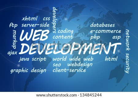 Web Development concept Illustration on blue background with world map