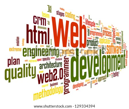 Web development concept in word tag cloud on black background
