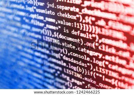 Web development concept. Script procedure creating. Program code and visual UI/UX. Programming code on computer monitor. Programmer working of software. Hacker breaching net security.  #1242466225