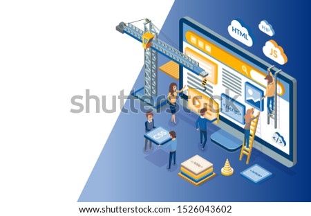 Web development, developers optimizations of sites raster. Programming of application, script writing, programmers coding scripts with html and css
