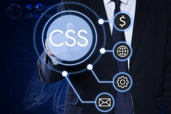 Web development. Man using button CSS on virtual screen, closeup