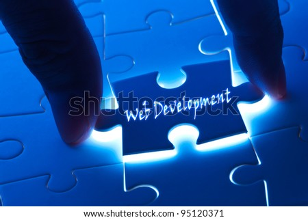 Web development on puzzle with back light