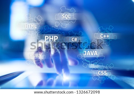 Web development tools concept on virtual screen. Programming language and scripts. PHP, SQL, HTML, Java and others. #1326672098