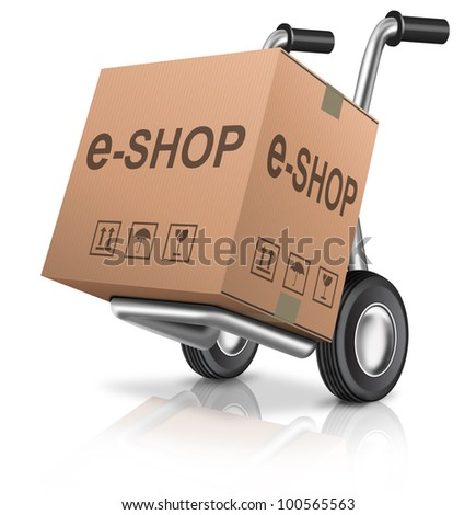 web e-shop icon online internet shopping cart concept cardboard box with text on a hand truck e-commerce
