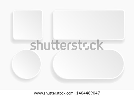 Web embossed 3d buttons. White blank 3d icons. illustration. Raster version #1404489047