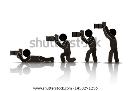 web icons of people. reporters and paparazzi with cameras