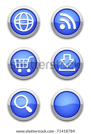 web icons with blue shiny round buttons on white.