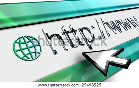 web Internet browser bar in perspective with smooth surface mouse pointer in vista style.