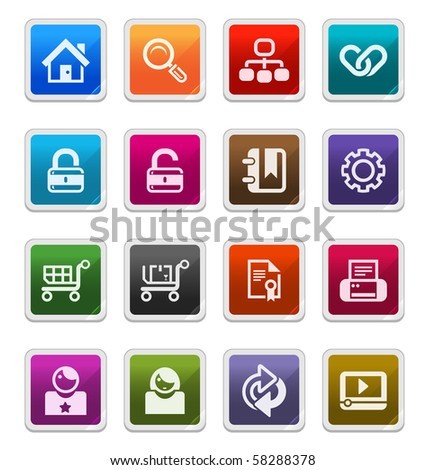 Web & Internet Sticker Icons 1 isolated over white background - sticker series
