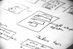 Web layout sketch paper Book, mobile and web sketch