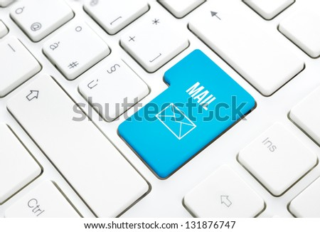 Web Mail network business concept, blue enter button or key on white keyboard photography.