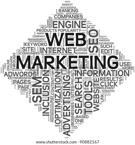 Web marketing and seo concept in word tag cloud on white background.