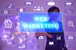 WEB MARKETING  concept  presented by  businessman touching on  virtual  screen ,image element furnished by NASA