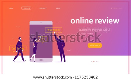 Web page concept design with online review theme. Office people at smartphone screen giving stars, feedback and rating. Thumb up, stars line icons. Landing page, mobile app, UI, UX, site. #1175233402