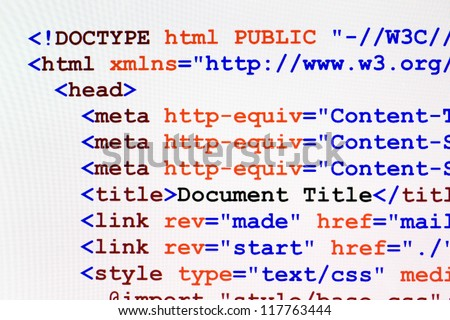 Web page HTML source code with document title, metadata description and links monitor screenshot front view