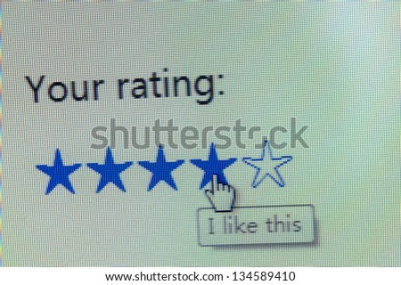 Web page of rating service or product