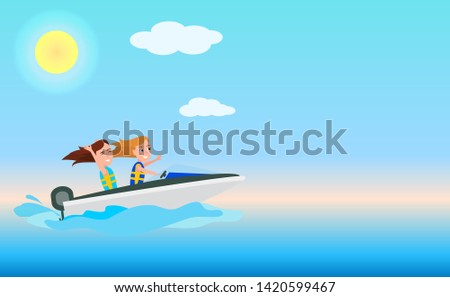 Web poster activities in summer girls having fun riding boat boating and water of sea sport activity raster on blue background