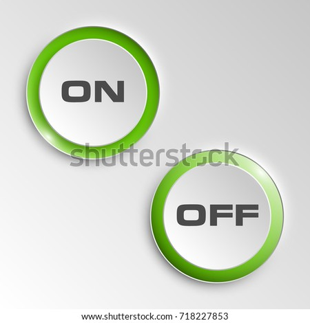 web round button on & off positions for website or app. Isolated bell sign with border, reflection and shadow on background.