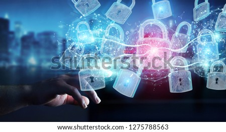 Web security protection interface used by businessman on blurred background 3D rendering #1275788563