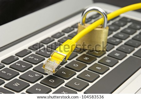 Web security with yellow ethernet cable and secured lock