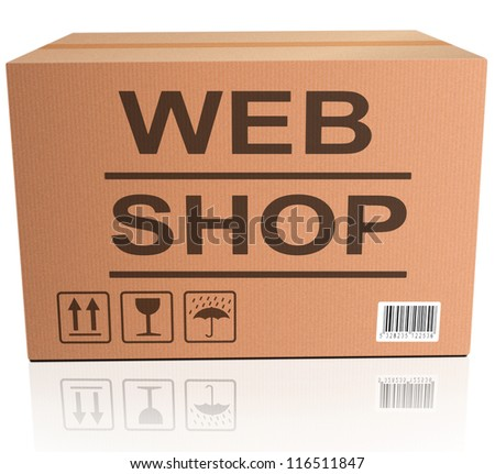 web shop icon shopping icon for placing online order on internet webshop brown cardboard box with text