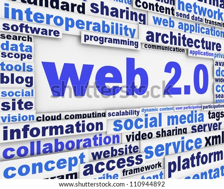 Web 2 slogan message cencept. New media technical poster design - stock photo