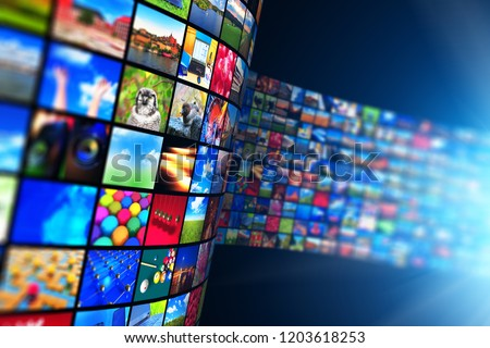 Web streaming media TV video service technology, multimedia business internet communication and cinema content production concept: 3D render of black background with endless walls of screens photos