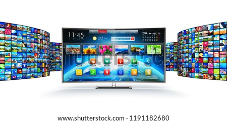 Web streaming media TV video service technology, multimedia internet communication and cinema content production 3D render of curved smart television screen display monitor with endless wall of screen