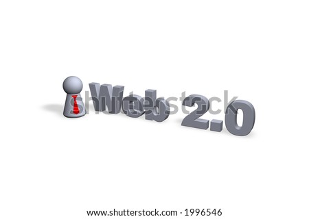 web 2.0 text in 3d - stock photo