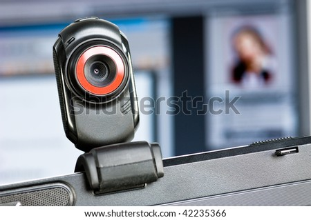 Webcam on a computer screen