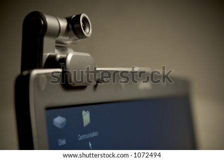 Webcam on LCD Panel (Oblique) - stock photo