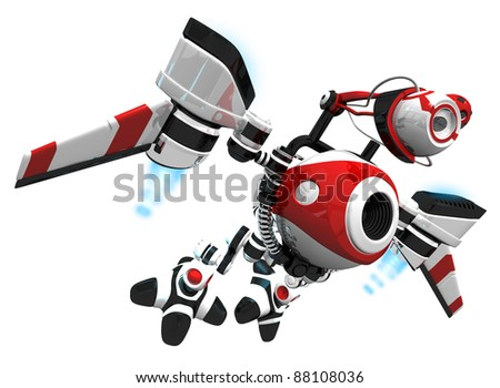 Webcrawler concept robot, flying to next job to index or search new content.