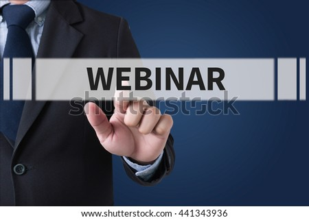 Webinar E-business Browsing Connection Businessman hands touching on virtual screen and blurred city background #441343936