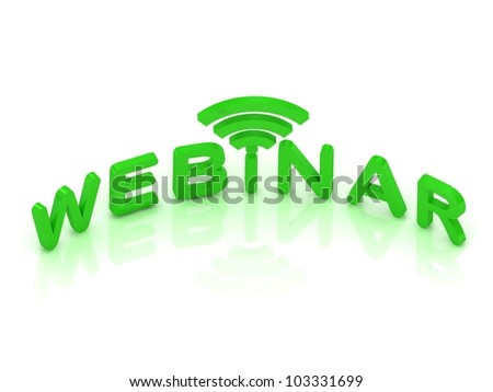 Webinar signal sign with green letters on white background